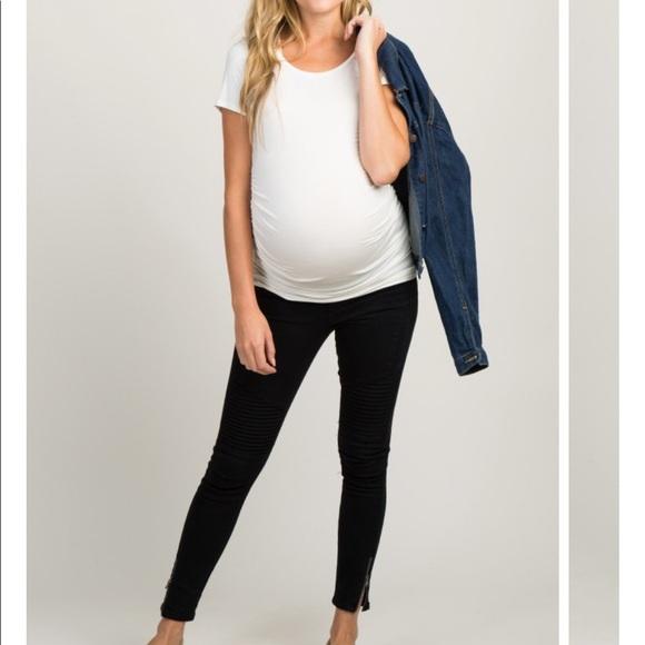 0573c80eede3f Pinkblush Jeans | Black Moto Side Zipper Maternity Denim | Poshmark